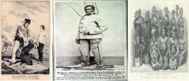 Black branding slaves by evil Whites